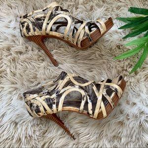 CALVIN KLEIN, Boa Print Strappy Heels